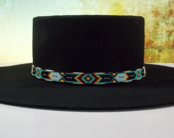 Green Turquoise Chevron Beaded Hat Band Authentic Hand Made Jewelry Beadwork By LJ Greywolf