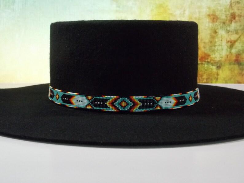 13b3de1b74 Green Turquoise Chevron Native American Beaded Hat Band | Etsy
