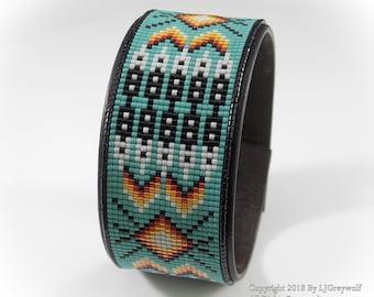 Turquoise Twenty Feathers Native American Beaded Leather Cuff Bracelet