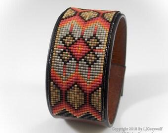 Golden Star Native American Beaded Leather Cuff Bracelet