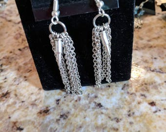 Dangle earrings - silver chains and bullet