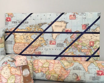 Corkboard map etsy world map memo board gumiabroncs Images