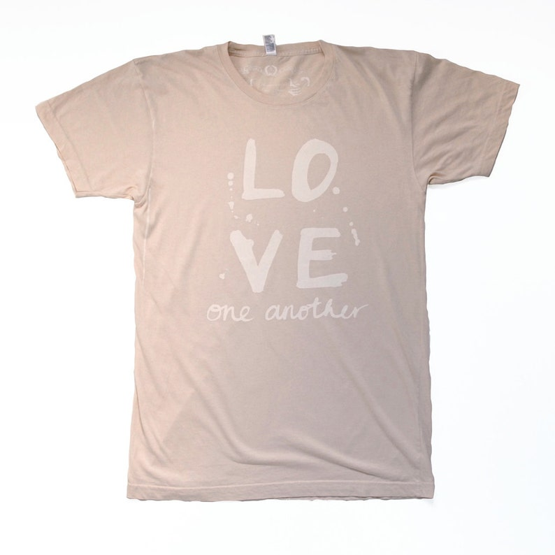 LOVE ONE ANOTHER hand screen printed t-shirt image 0