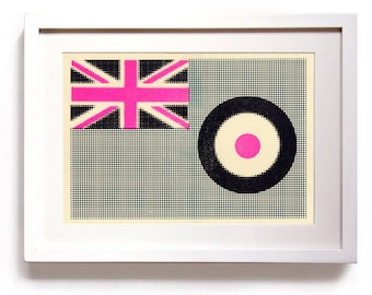 3 colour Riso halftone MOD flags using pink, blue and black inks