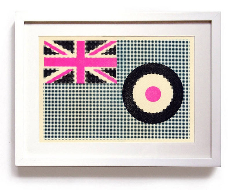 3 colour Riso halftone MOD flags using pink blue and black image 0