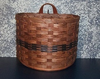 Handwoven Small Wall Hanging Basket with Leather Handle
