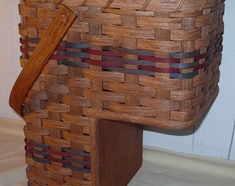 Handwoven Small 7 Inch Stair Step Basket with Swivel Wooden Handle