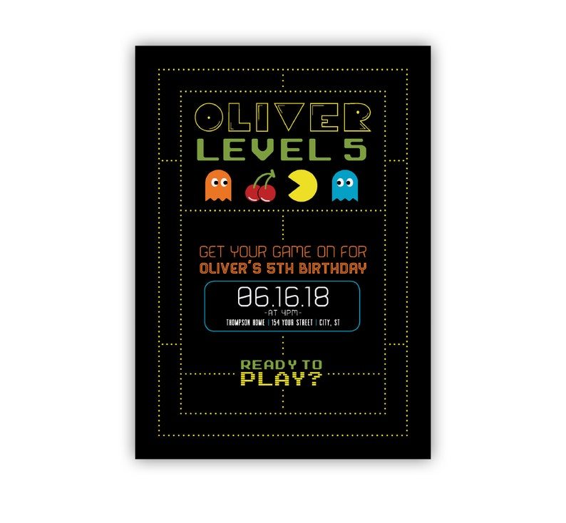 Gaming Birthday Party Invite Pac Man Game On Level Up Etsy
