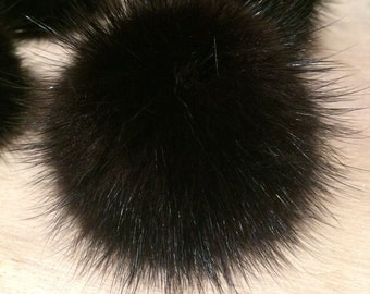 Recycled Fur Pom Pom - 2-Inch Shiny Black Mink Fur Pom Pom - Detachable