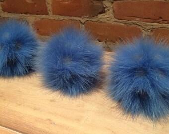 Faux Fur Pom Pom, Blue Faux Pom Pom, Grey Pom, Light Blue Pom, Hat Pom, 5 Inch, Hat Accessory, Spotted Pom, Grey Inlays, Knitting Supplies,