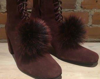 Fur Shoe Poms, Pair of Burgundy Black Fox Faux Fur Shoe Pom Poms, Mini Shoe Adornments, Clip Shoe Fur Jewelry, Scarf Poms, Shoe Accessories