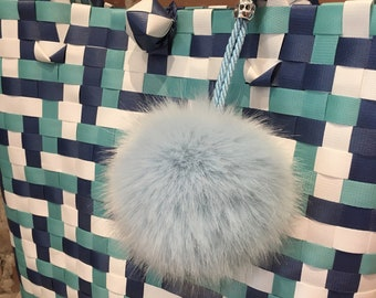 Purse Pom Pom, Handbag Charm, Powder Blue, Faux Mink Fur, Key Fob, Pom Charm, Purse Charm, Faux Fur, Pom Pom, Key Chain, Handbag Accessories