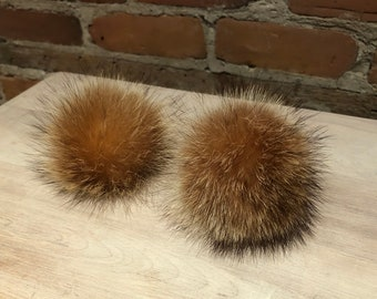 Recycled Fur Shoe Poms Pair of Raccoon Real Fur Shoe Pom Poms 2.5-Inch