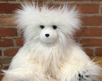 Faux Fur Teddy, White Teddy Bear, White Fur Bear, Faux Fur Bear, Curly Lamb Bear, Gabby the Mongolian, Curly Lamb Fur, Artist Bear, Handmade