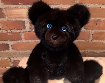 Black Mink Bear, Artist Teddy Bear, Mink Teddy Bear, Natural Black Mink, Handmade, Real Fur Bear, Recycled Fur, Ally, Black Mink Fur Teddy