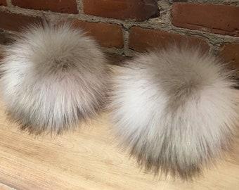 Large White Fur Pom Pom Recycled Fur Loop Attachment Pure White Detachable Knit Hat Pom Pom Pom Knitting Supplies 6 Inch Lamb Fur