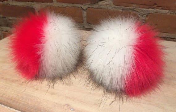 64a8ffee404 Red White Pom Faux Fur Pom Pom 5 Inch Fur Ball Multi-Color