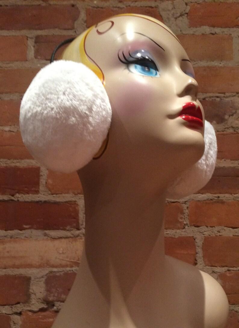 Wedding White Chincilla Faux Fur Earmuffs Faux Fur Earmuffs