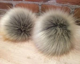 Faux Fur Pom Pom, 5 Inch, Large Pom, Fur Ball, Grey Faux Pom, Beige Faux Pom, Red Fox, Faux Bobble, Knit Hat Pom, Faux Fur Pom, Detachable
