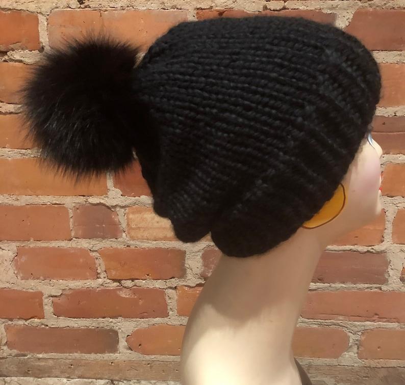 Brown Black Pom Real Fox Fur Detachable Recycled Fur Knitting Supplies Fur Ball Hat Topper Pom Pom Hat Pom Black Fox Pom 5 Inch