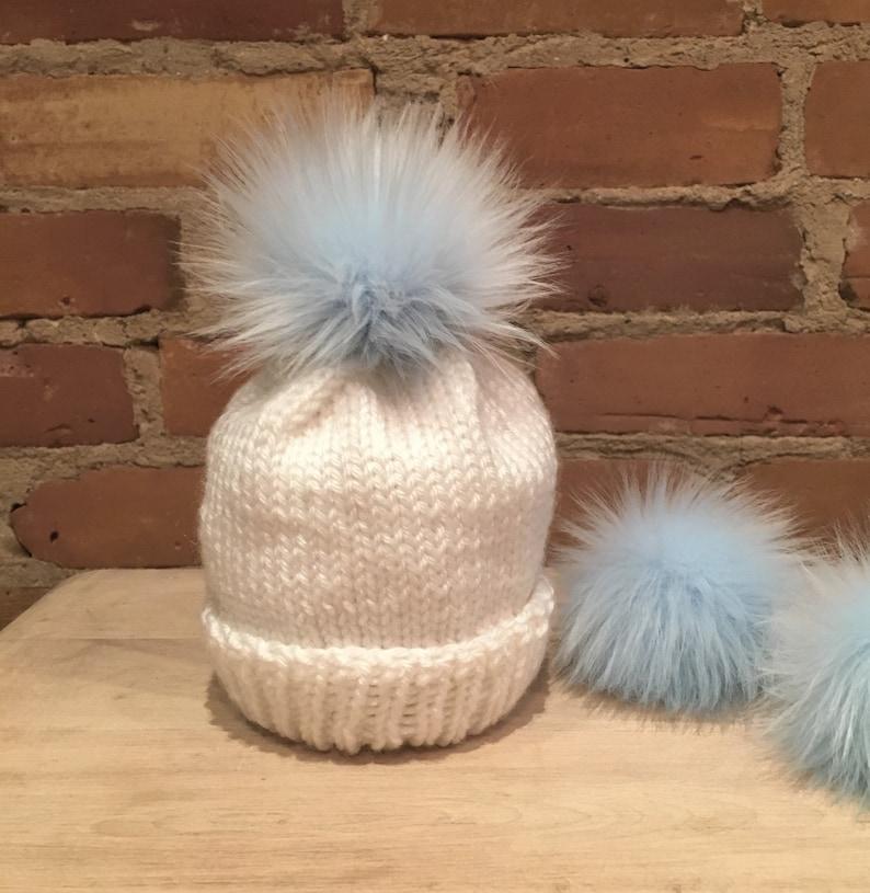 2c3bb12a6e3 Baby Blue Fox Faux Fur Baby Hat Pom Fur Ball Blue Pom Pom
