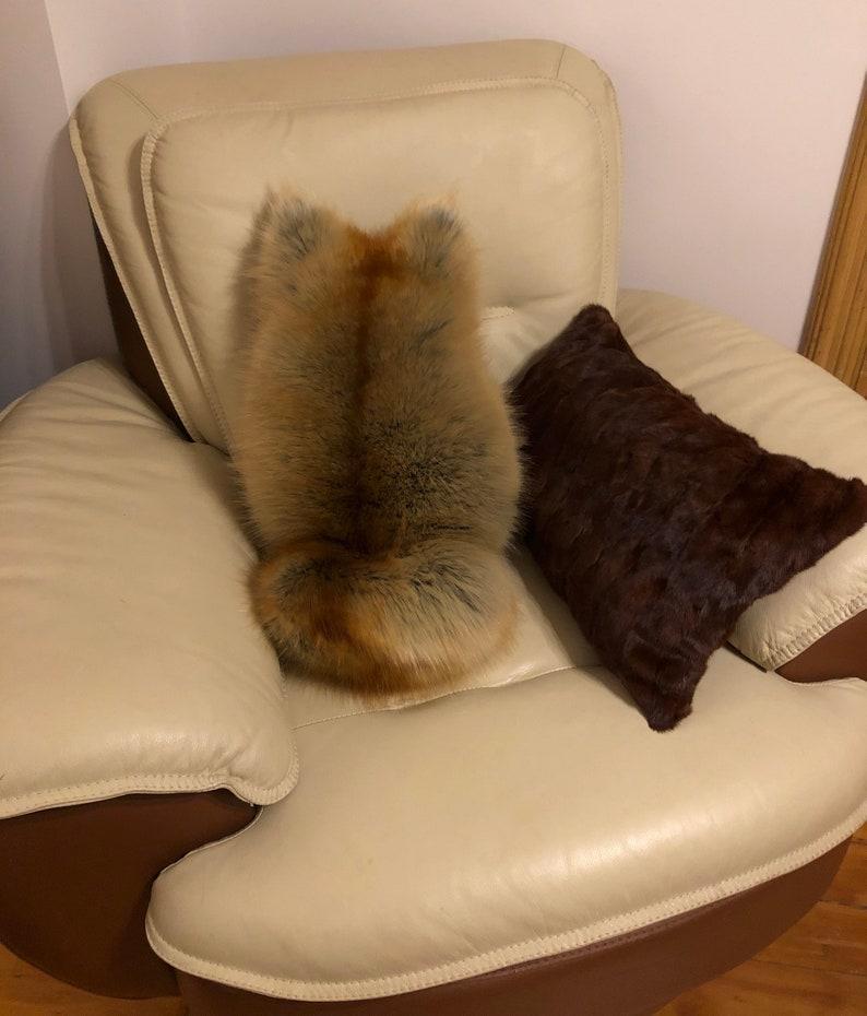 Faux Red Fox Fur Cat Pillow Beige Gold Red Faux Fur Cat Pillow Bed Sofa Pillow Handmade Home Decor Decorative Pillow Cat Shaped Pillow
