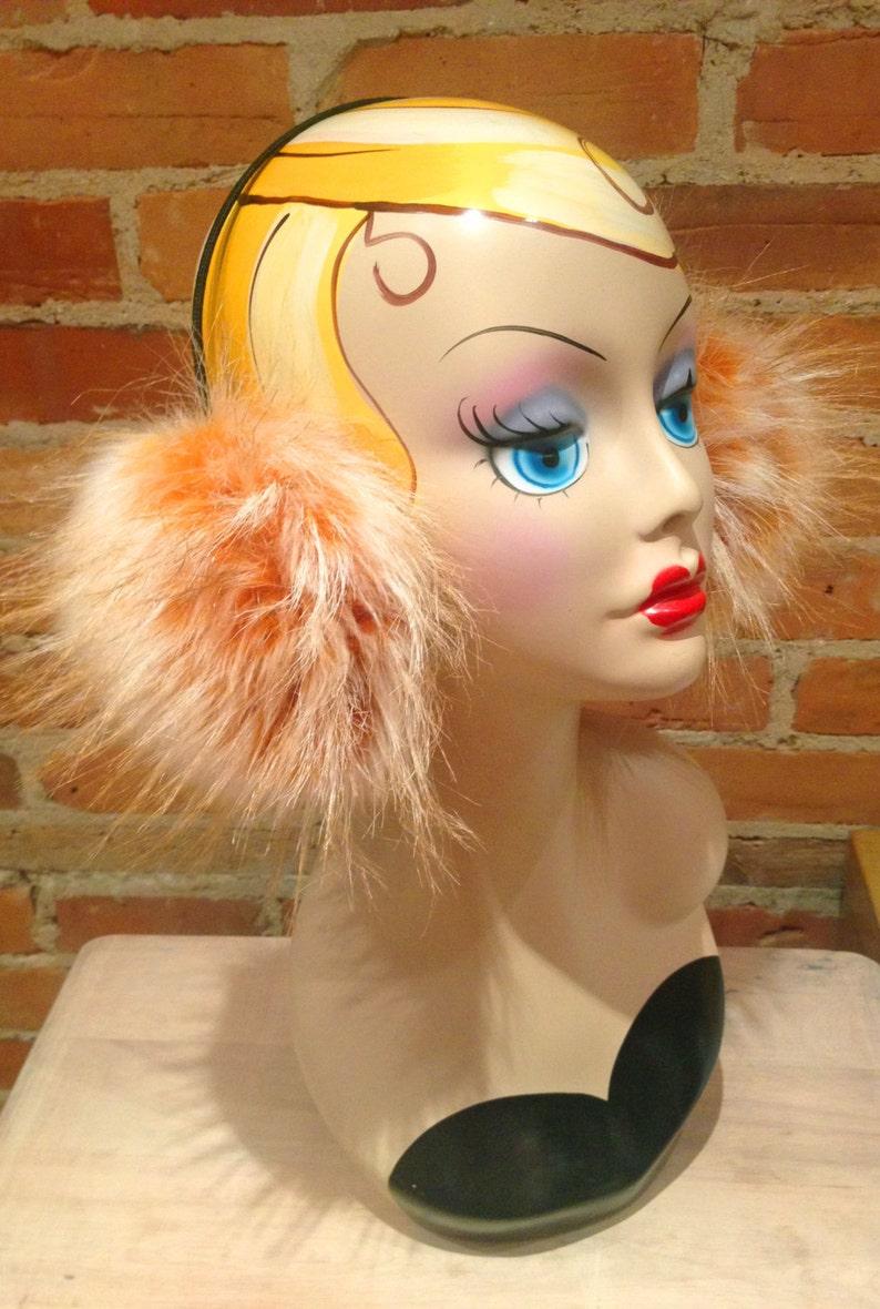 Frosted Gold Fox Faux Fur Earmuffs Faux Fur Earmuffs