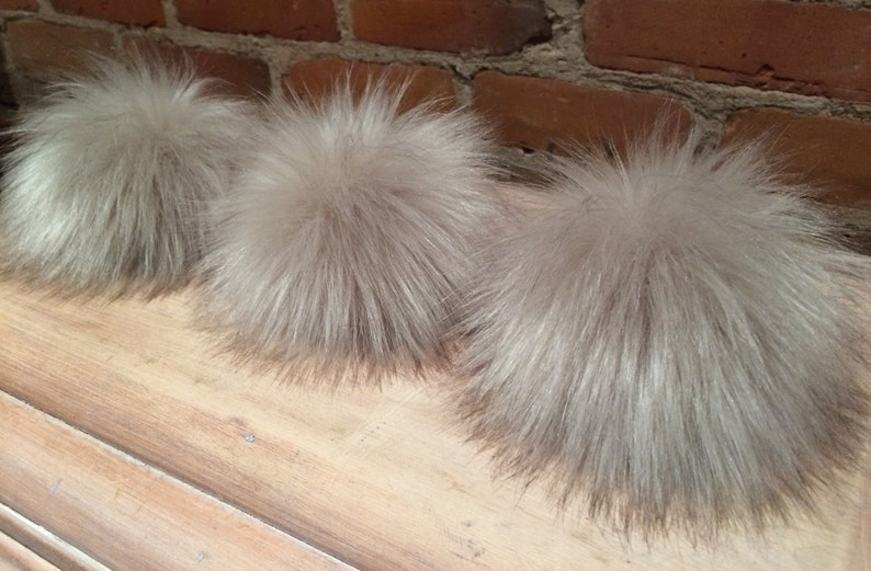 44bd0658b9ec7 Faux Fur Pom Pom 5.5 Inch Pearl Taupe Fox Faux Fur Pom Pom