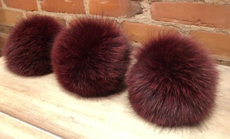 cd8d5dc0b16 Wine Burgundy Pom Pom Burgundy Pom Fox Fur Recycled Fur