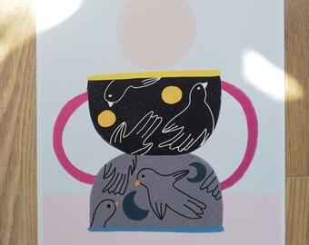 Print - Bird Vase-