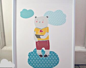 Sailing Teddy bear Print.