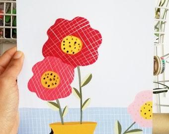 Print - vase with flowers-