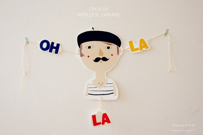 Paper  Doll. Paper Garland.  OH LA LA  image 0