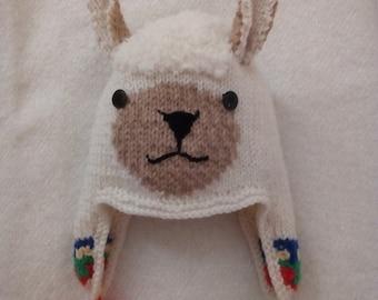 9f9d851141c45 Bonnet lama enfant ou adulte cache oreilles écru tricot 100 % fait main  France, idée cadeau, bonnet ski, toutes tailles / couleurs possibles