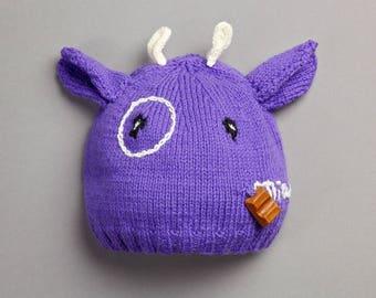 Bonnet vache enfant tricot création 100 % fait main en France laine,  breloque chocolat, toutes tailles possibles e865cfeabe3