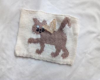Snood chat papillon enfant tricot 100 % fait main en France création laine  écru marron snood original idée cadeau tour de cou écharpe e9263686717