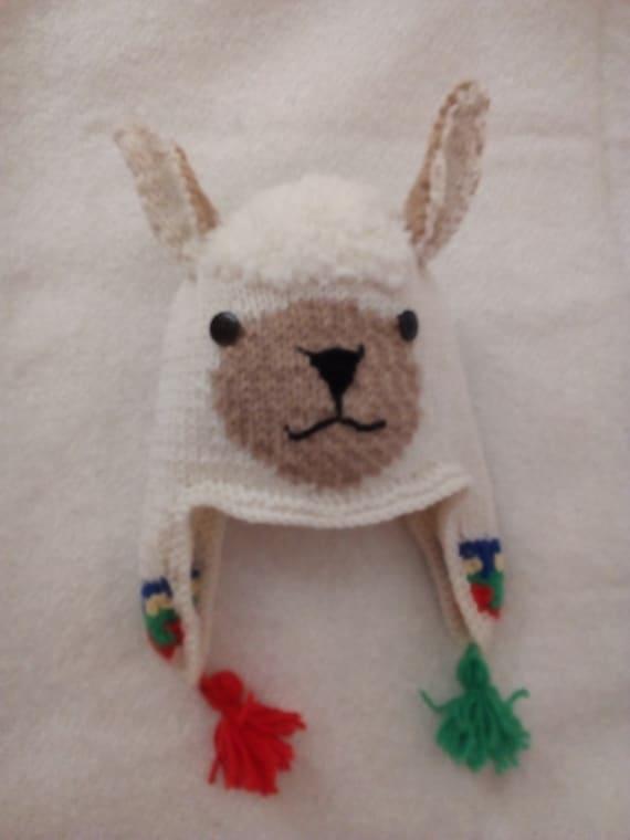 beaucoup à la mode capture arrive Bonnet lama enfant ou adulte cache oreilles écru tricot 100 % fait main  France, idée cadeau, bonnet ski bonnet animal lama fantaisie