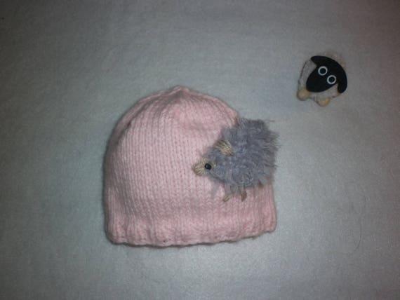 d71ea96ca2bc Bonnet mouton bébé tricot 100 % fait main en France rose et   Etsy
