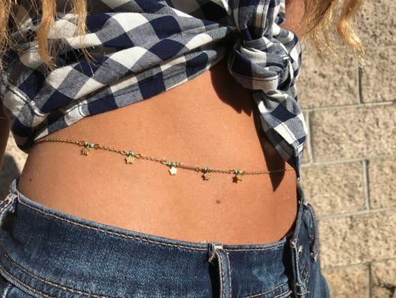 Gypsy Twinkle Star Belly Chain,24K Gold Plated Body Jewelry Waist Chain Hippie Wedding accessory Beach Jewelry