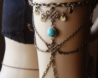 Chain Armlet, Shoulder Armor, Chain Shoulder Jewelry,  Turquoise Shoulder Piece, Bohemian jewelry,