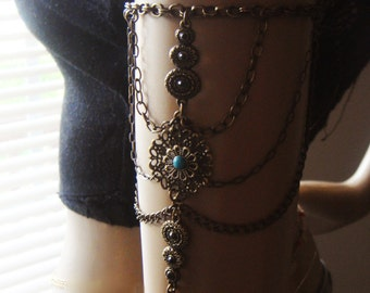 Bronze Chain Armlet, Turquoise  Shoulder Armor, Shoulder Jewelry, Arm Bronze Tattoo, Boho jewelry