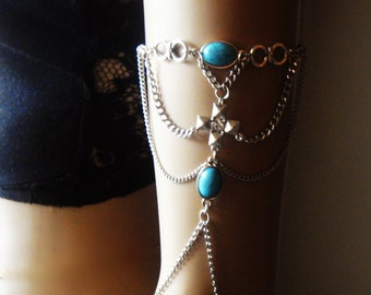 Cross Chain Armlet, Shoulder Armor, Chain Shoulder Jewelry,  Turquoise Shoulder Piece, Bohemian Jewelry