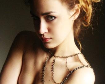Bohemian Shoulder Armor, Bronze Chain Shoulder Jewelry, Bronze Shoulder Tattoo,Shoulder Piece, Shoulder Boho Jewelry