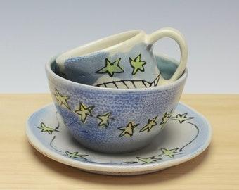 Child's Dish Set, Blue with Stars