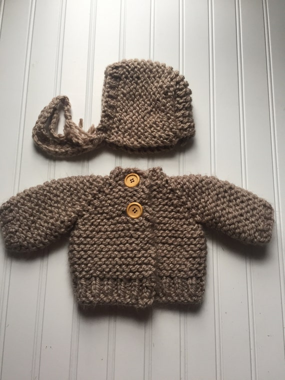 adfb72d66 Baby Chunky Sweater and Bonnet knitting pattern Baby cardigan