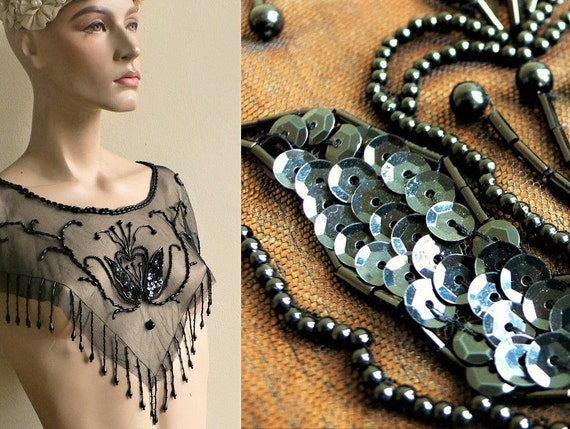 Victorian style top Vintage hand beaded & sequin p