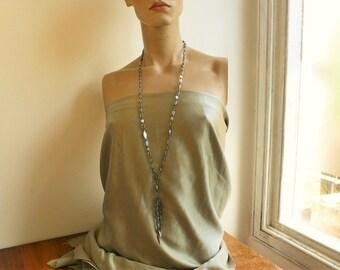 Sale Antique Cut Steel Necklace steel cut tassel necklace // Antique Steel Cut Flapper necklace RARE