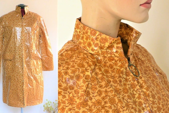 Vintage Raincoat 1960s 1970s Pull Zip Flower Rainc