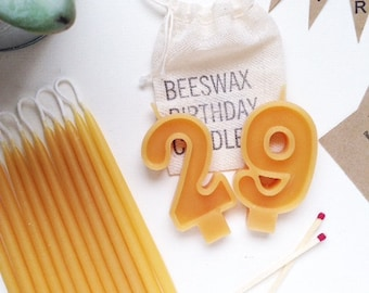 Beeswax Birthday Candles with a Double Digit