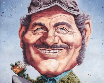 Quint from Jaws - 42cm x 30cm signed art print